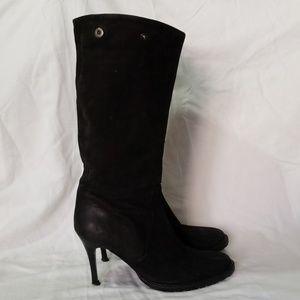 Patrizia Pepe Black Suede Leather Heeled Boot 37